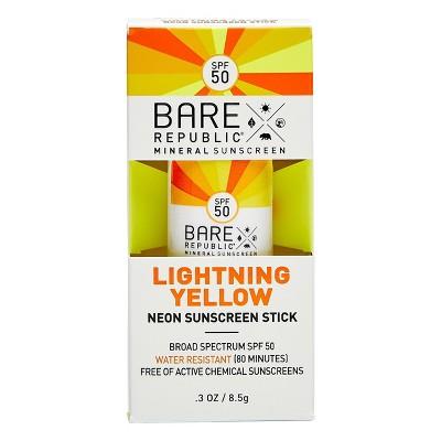 Bare Republic Mineral Sunscreen Stick Lightening Yellow - SPF 50 - 0.3oz