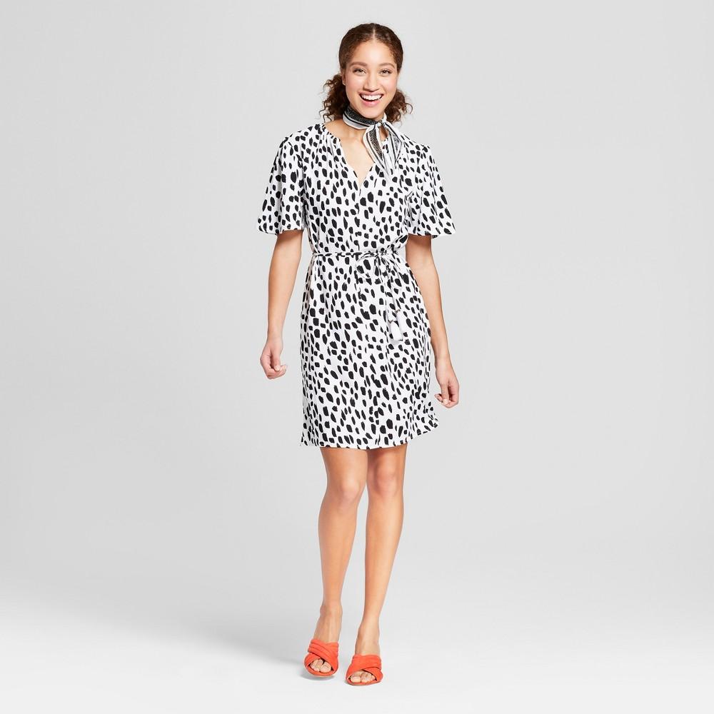 Women's Printed Short Sleeve Tie Waist Crepe Dress - A New Day Black/White Xxl