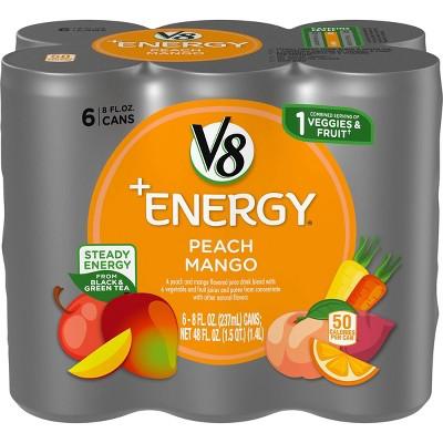 V8 V-Fusion +Energy Peach Mango Vegetable & Fruit Juice - 6pk/8 fl oz Cans