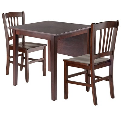 3pc Perrone Drop Leaf Dining Table Set with Slat Back Chair Walnut - Winsome