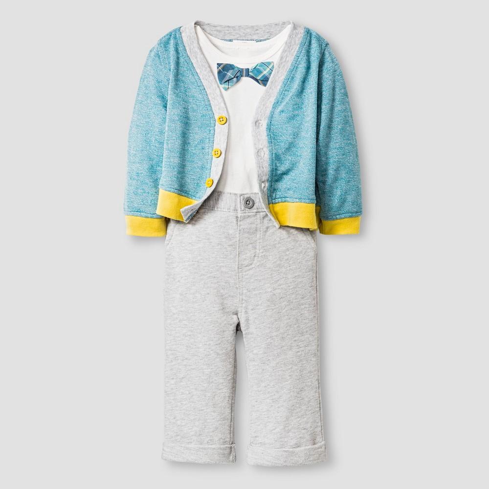 Baby Boys' Sweater, Bodysuit and Pants - Cat & Jack Sea/Gray 24M, Blue