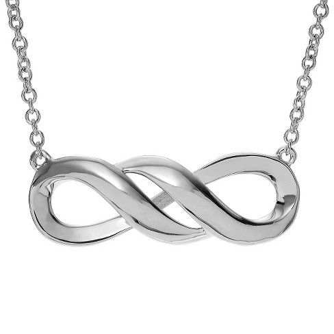 "Women's Journee Collection Rhodium Finish Infinity Pendant Necklace in Sterling Silver - Silver (17"") - image 1 of 2"