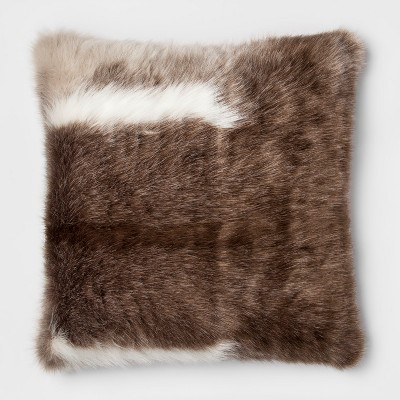Reindeer Faux Fur Oversize Square Throw Pillow Brown - Threshold™