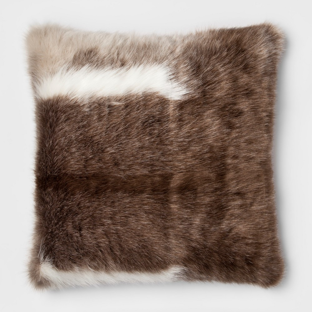 Reindeer Faux Fur Oversize Square Throw Pillow Brown - Threshold