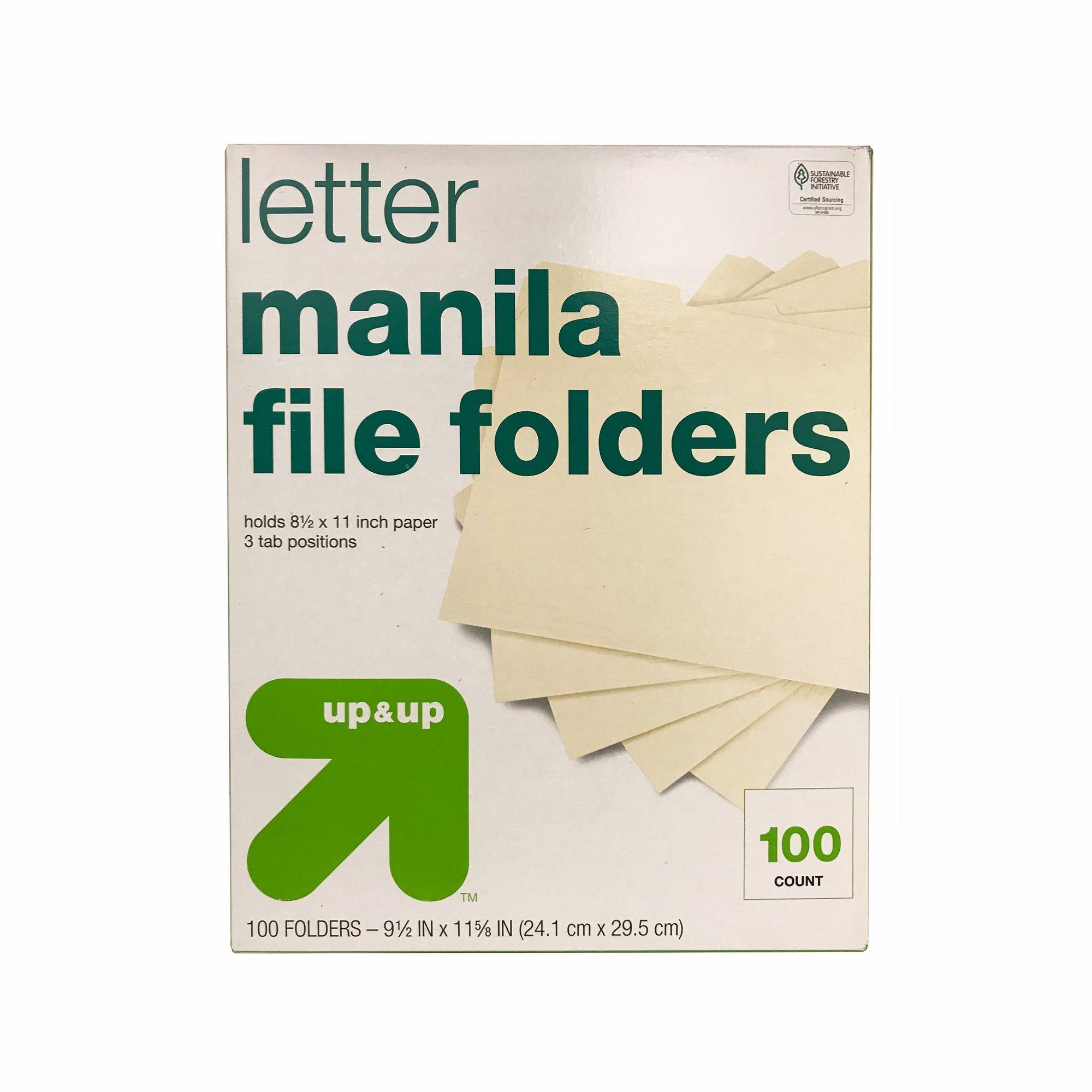 Essentials File Folders - 1/3 Cut Top Tab, Letter, Manila, 100/Box - Up&Up, None