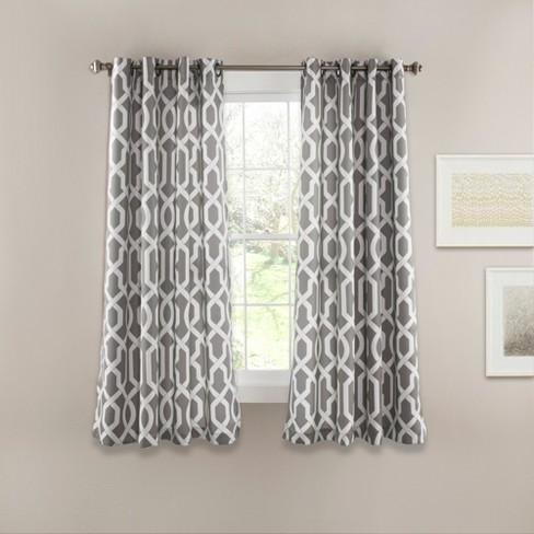 Edward Trellis Room Darkening Window Curtain Set Gray - Lush Dcor - image 1 of 4