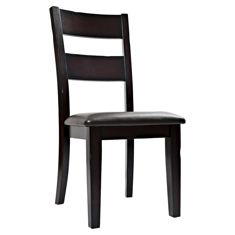 Prairie Ladderback Dining Chair with Upholstered Seat Wood/Dark Brown (Set of 2) - Jofran Inc.
