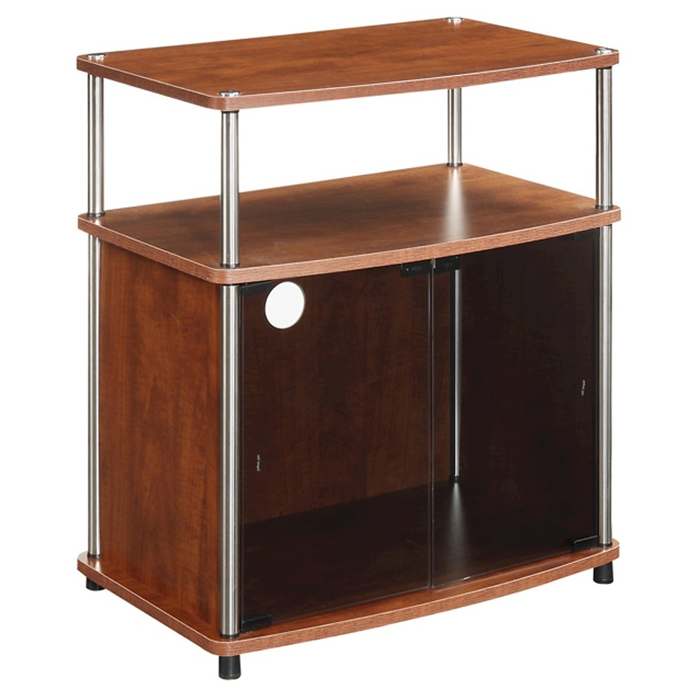 "Image of ""24"""" Glass Cabinet TV Stand Black/Cherry Designs2Go - Johar Furniture, Red"""