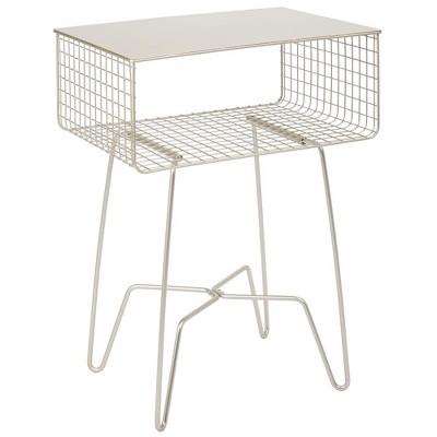 mDesign Modern Farmhouse Home Decor End Table, Metal Wire Storage Shelf