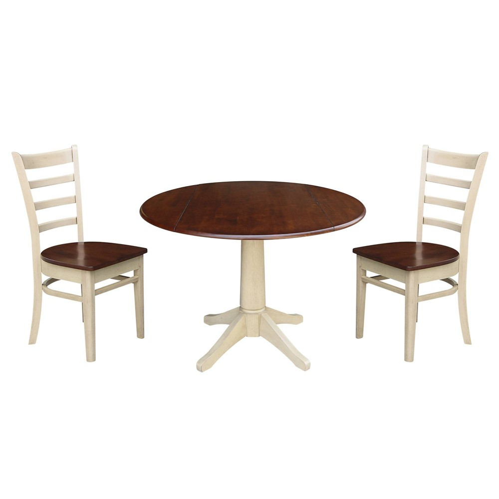 42 Tim Round Top Pedestal Dining Table with Two Chairs Almond/Espresso - International Concepts, Multi-Colored