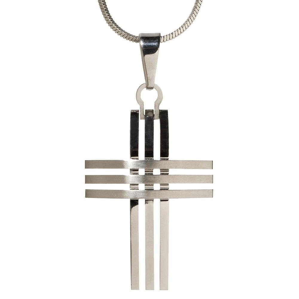 Target Men's Triple-Row Cross Pendant Necklace, Silver