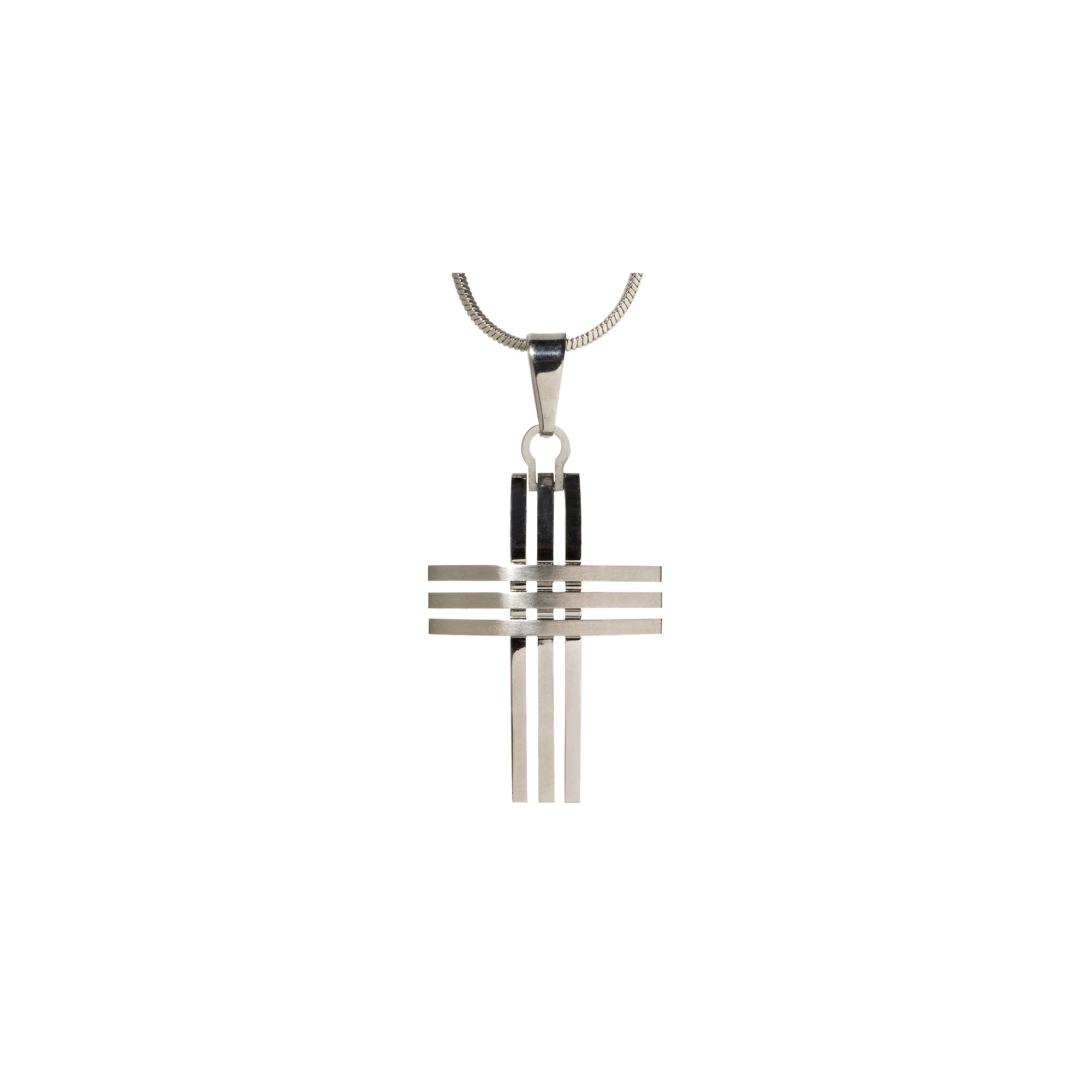 Men's Triple-Row Cross Pendant Necklace, Size: Small, Silver/Silver
