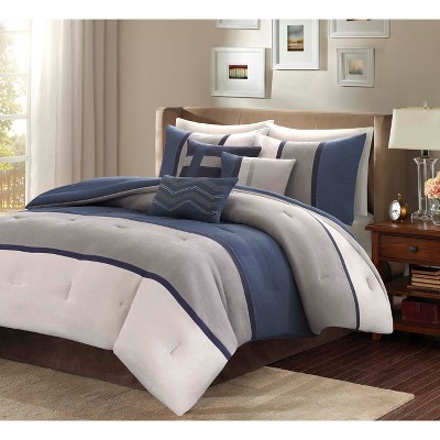 Blue Overland Microsuede Comforter Set Queen 7pc Homa