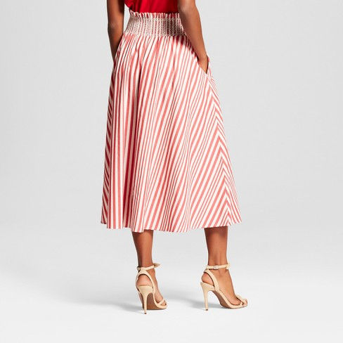 32464bad2ac Women s Striped Smocked Waist Midi Skirt - Who What Wear™ Red M   Target
