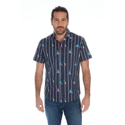 Distortion Men's Printed Poplin Short-Sleeve Button Down Shirt