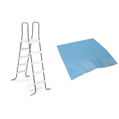 Intex Steel Frame Above Ground Swimming Pool Ladder + Pool Ladder Step Pad