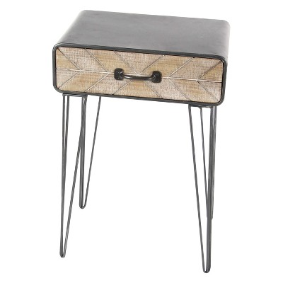 Metal and Wood Brown End Table 1 Drawer Brown - Olivia & May