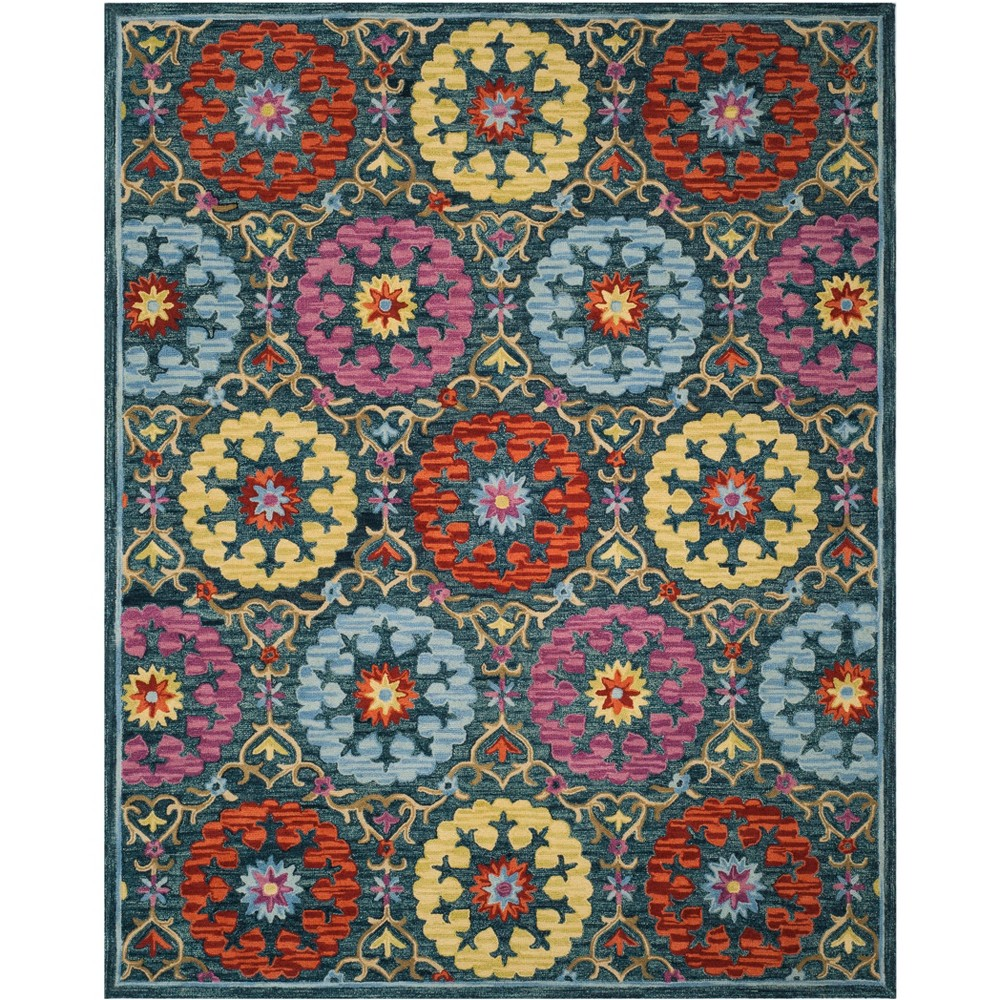 8'X10' Floral Hooked Area Rug Blue - Safavieh