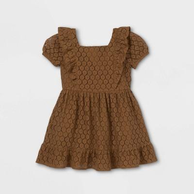 Toddler Girls' Lace Short Sleeve Dress - art class™ Olive Green
