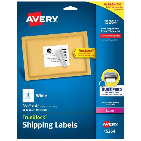 "Avery 3 1/3"" x 4"" 60ct TrueBlock Shipping Labels White - image 1 of 4"