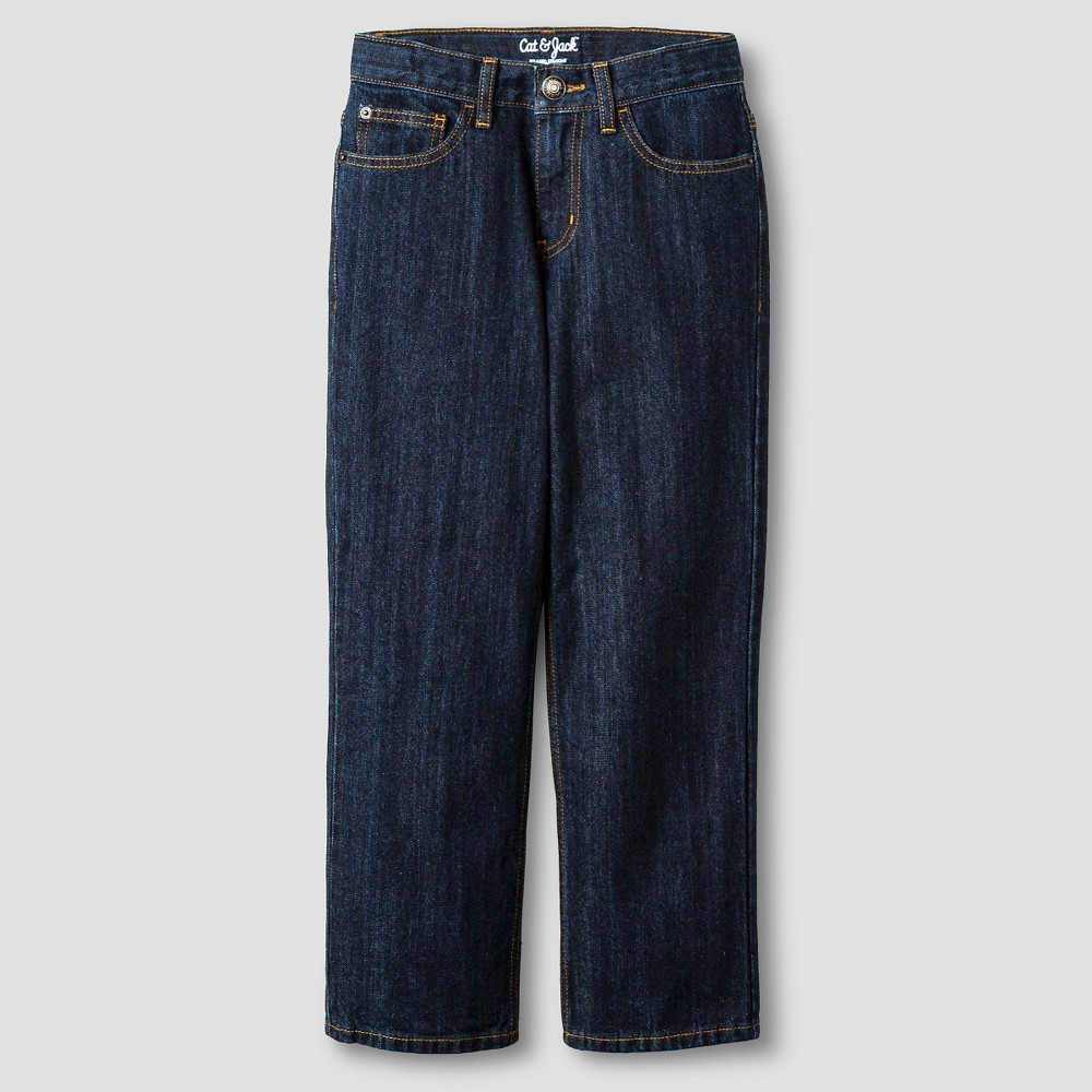 Boys' Relaxed Straight Fit Jeans - Cat & Jack Dark Wash 6 Slim, Blue