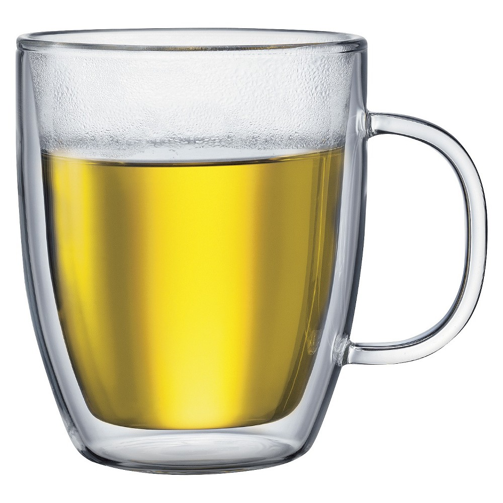 Image of Bodum Bistro 2pk 15oz Double Wall Glass Mugs, Clear