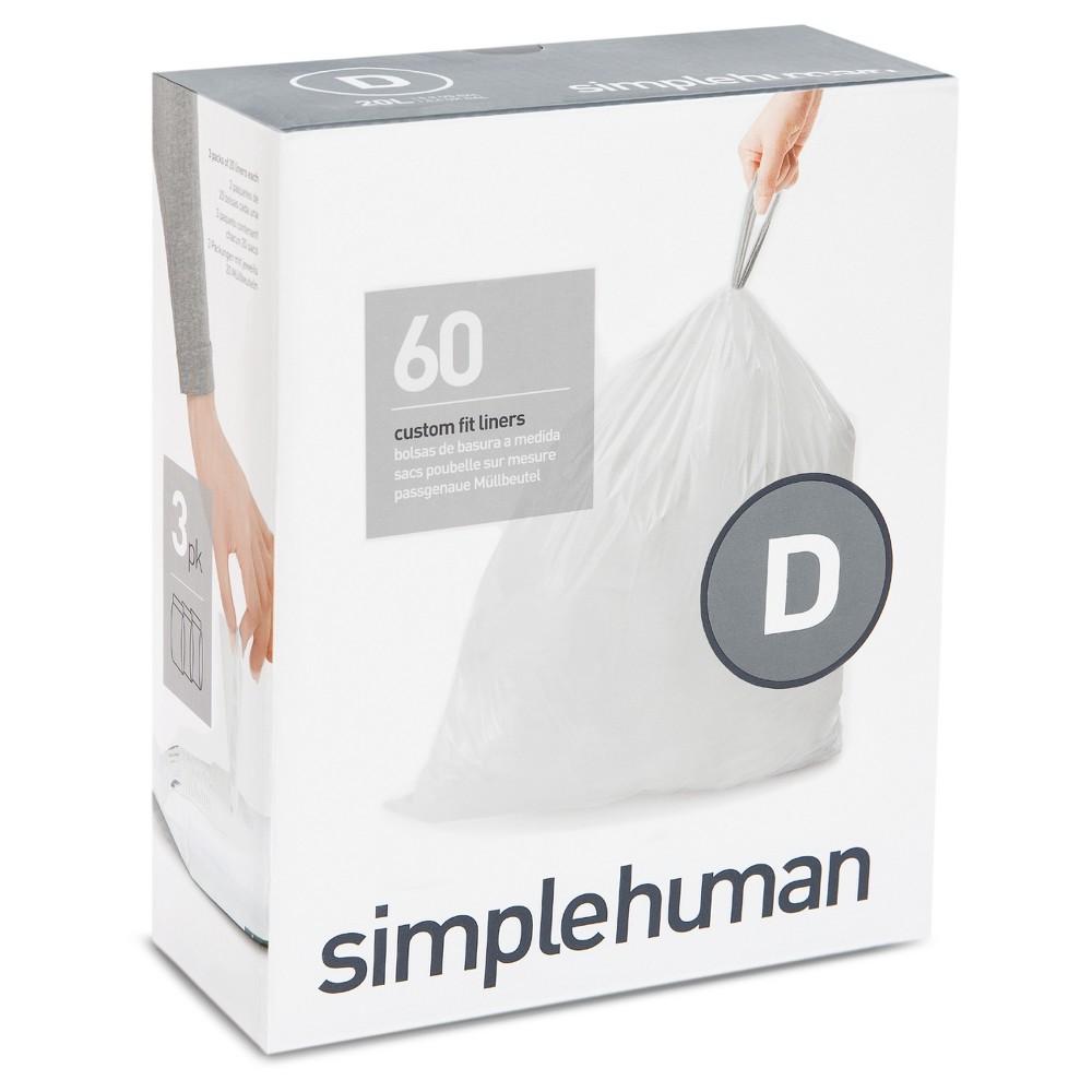 simplehuman Code D Custom Fit Trash Can Liner - 3pk / 20ct, White