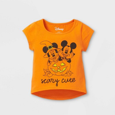 Toddler Girls' Minnie Mouse Scary Cute Halloween Short Sleeve T-Shirt - Orange