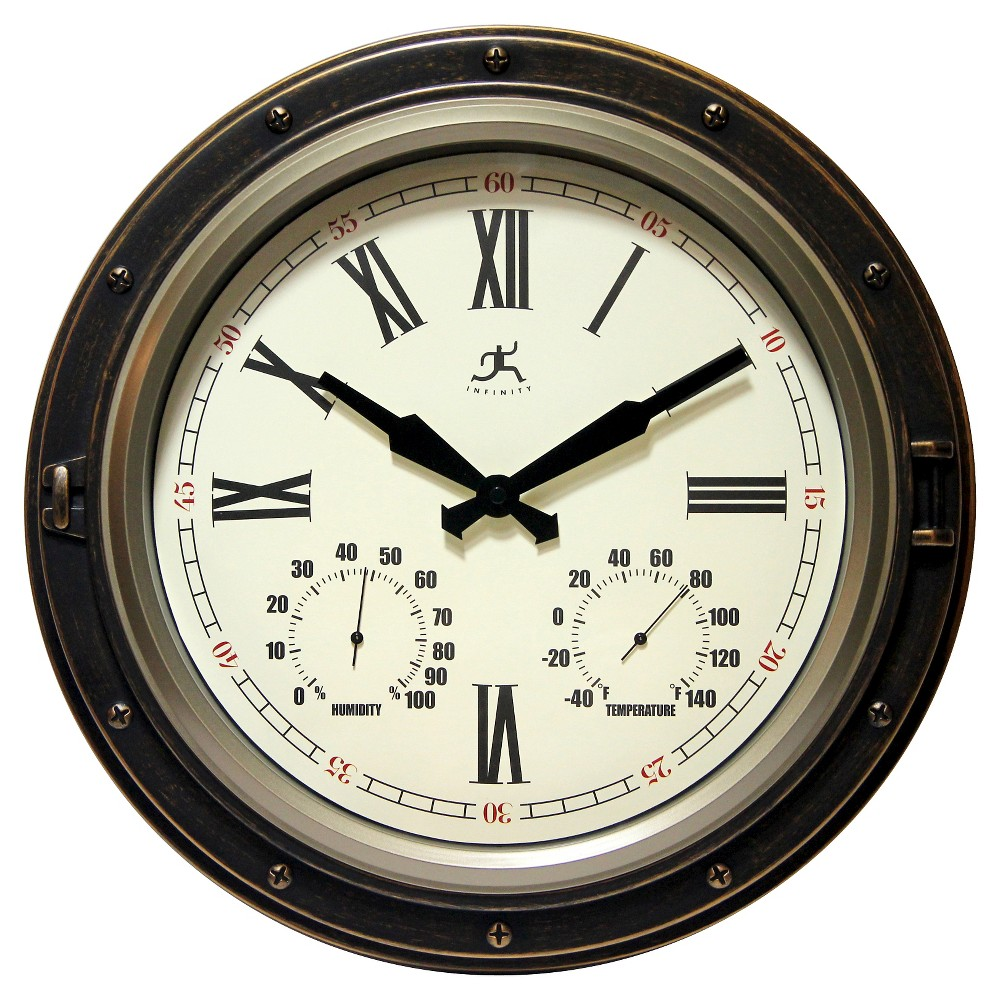 Image of Forecaster Decorative Wall Clock Bronze - Infinity Instruments