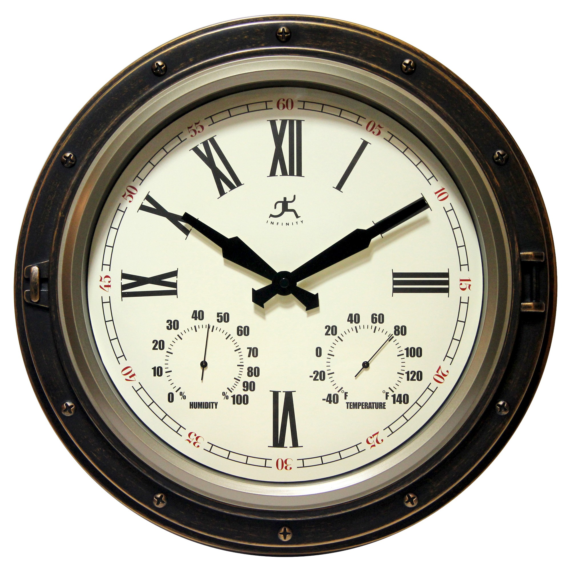 Forecaster Decorative Wall Clock Bronze - Infinity Instruments