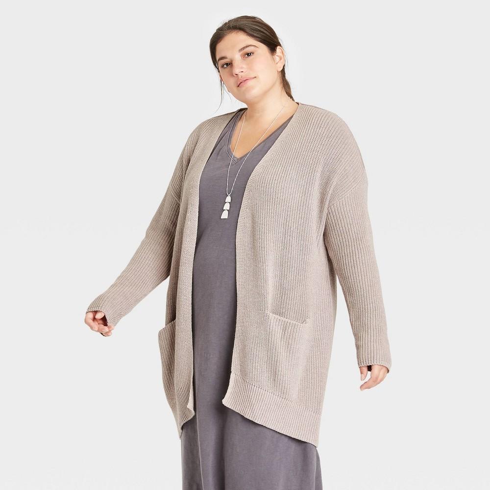 Women 39 S Plus Size Cardigan Universal Thread 8482 Light Taupe 2x