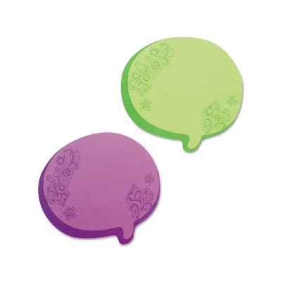 Redi-Tag Thought Bubble Notes 2 3/4 x 3 Green/Purple 75-Sheet Pads 2/Set 22102