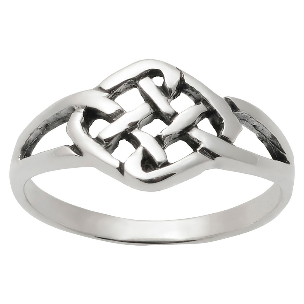 Women's Journee Collection Woven Diamond Celtic Knot Ring in Sterling Silver - Silver, 5