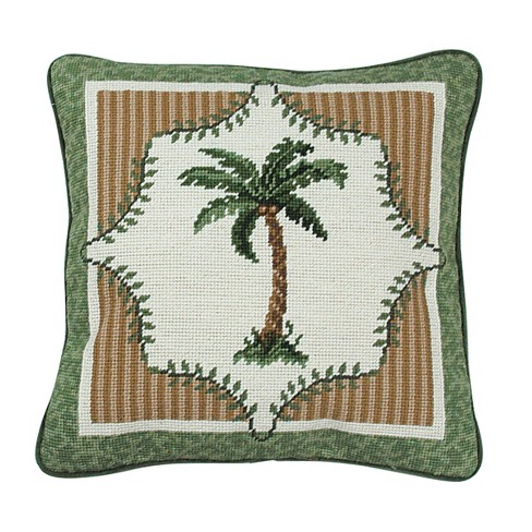 C F Home 14 X 14 Martinque Palm Tree Needlepoint Pillow Target
