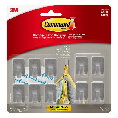 Command 10pk Small Stainless Steel Hooks