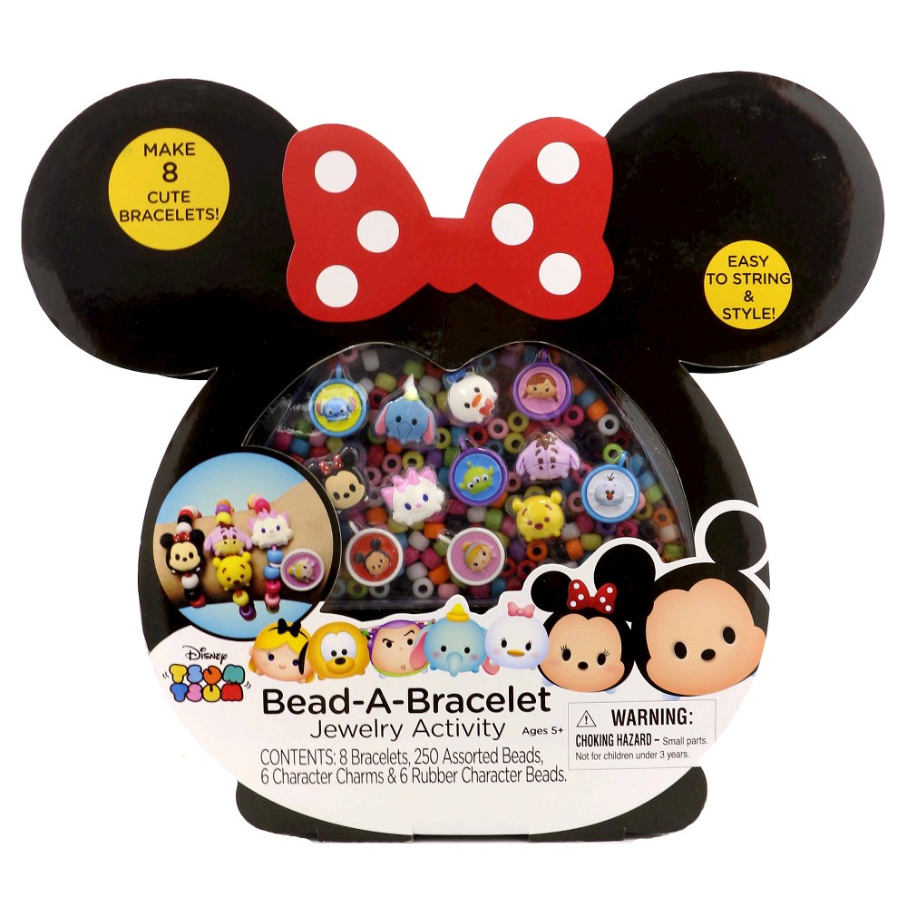 Tsum Tsum Bead A Bracelet Jewelry Activity Your kid will love to create cute bracelets with the Tsum Tsum Bead a Bracelet Jewelry Activity Kit. The kit features assorted plastic beads, character charms and cute rubber character beads, with enough supplies to make eight bracelets — perfect for a slumber party activity or for your child to make a new bracelet whenever the desire strikes. Gender: Female.