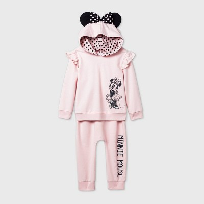 Toddler Girls' 2pk Minnie Mouse Long Sleeve Fleece Top and Bottom Set - Pink 12M