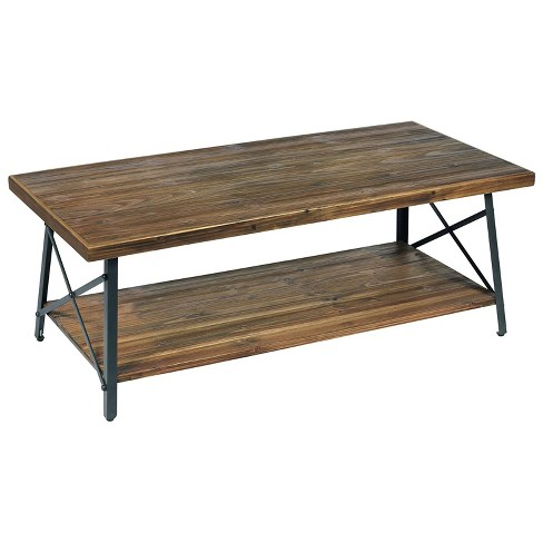 Emerald Home Chandler 45 Inch Long Rustic Open Storage Coffee Table, Natural Fir - image 1 of 4