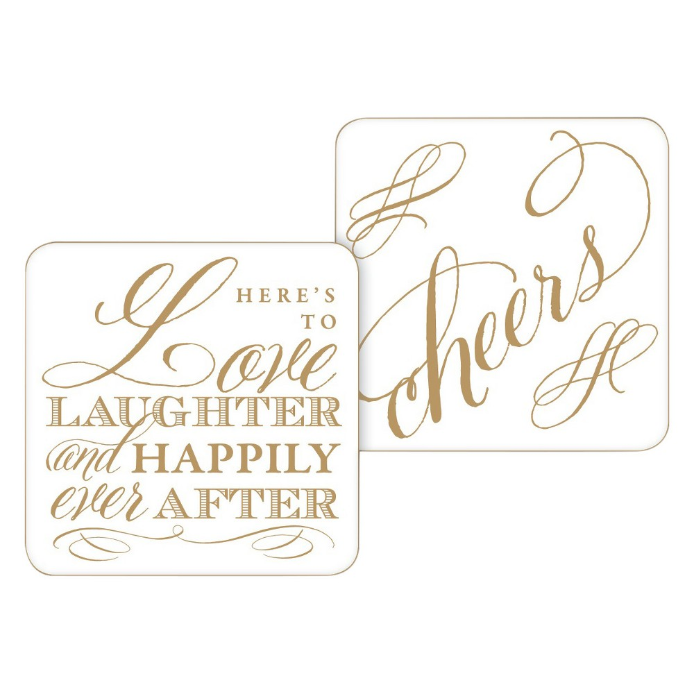 20ct Here's to Love Laughter and Happily Ever After Paper Coasters, White