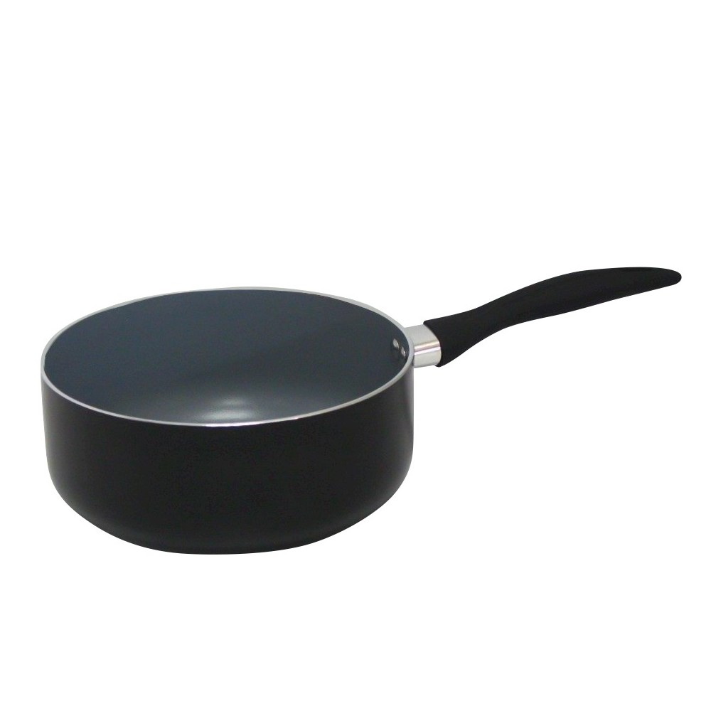 Image of Gourmet Chef 175 Fl Qt Eco Friendly Non Stick Ceramic Sauce Pan - Black