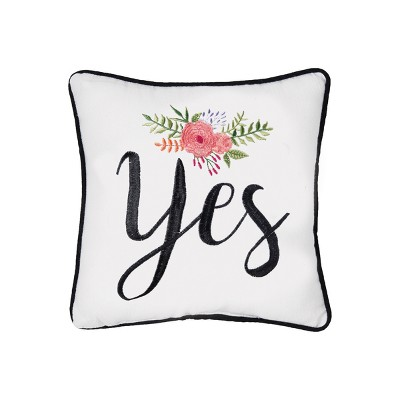 """C&F Home 10"""" x 10"""" Yes/No Embroidered Pillow"""