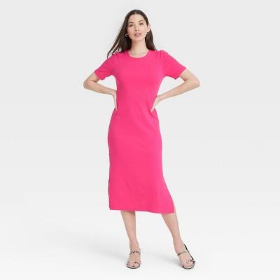 Women's Short Sleeve Rib Knit T-Shirt Dress - A New Day™