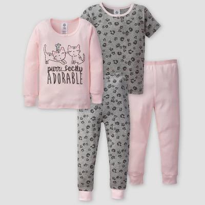 Gerber Toddler Girls' 4pc Leopard Pajama Set - Light Pink