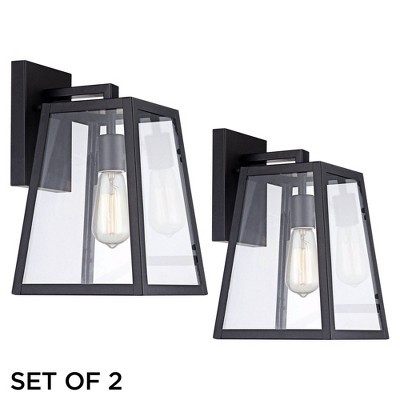"""John Timberland Industrial Outdoor Wall Light Fixtures Set of 2 Mystic Black 13"""" Clear Glass Edison Bulb for House Porch Patio"""