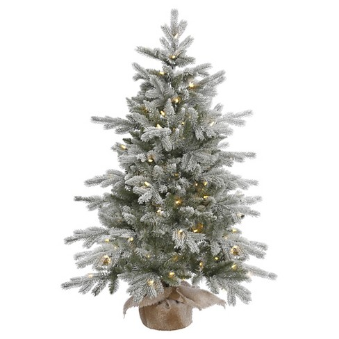 4ft Pre-Lit Frosted Pine Artificial Christmas Tree Slim with Clear ...