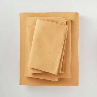 King 100% Washed Linen Solid Sheet Set Honey - Casaluna™