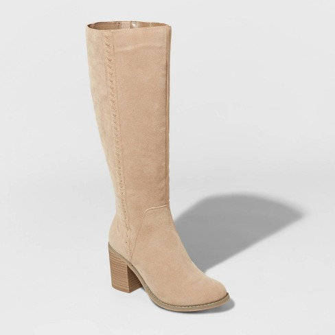Women's Sunset Microsuede Riding Boots - Universal Thread™ Taupe - image 1 of 3