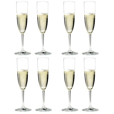 Riedel 6416/08-POL Vinum Champagne Dishwasher Safe Crystal Champagne and Rose Wine Drinking Glasses Stemware with Microfiber Polishing Cloth (8 Pack)