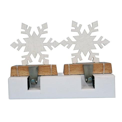 2ct Faux Marble Snowflake on Wood Base Christmas Stocking Holder White - Wondershop™ - image 1 of 1