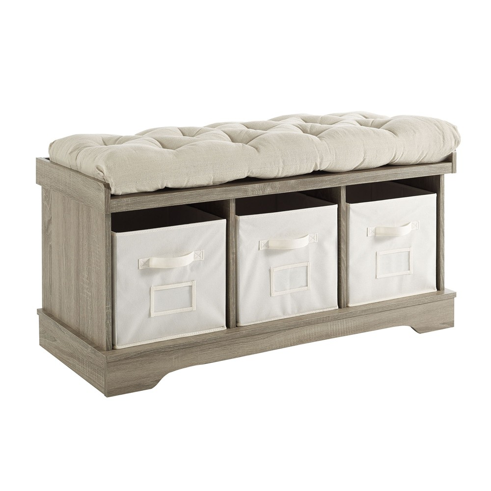 Super Entryway Storage Bench With Cushion Gray Wash Saracina Home Machost Co Dining Chair Design Ideas Machostcouk
